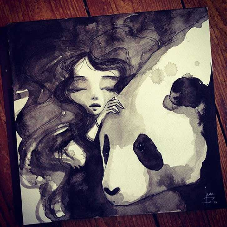 Pandamonium-Panda-and-Maiden-ink-drawings-by-June-Leeloo12__605