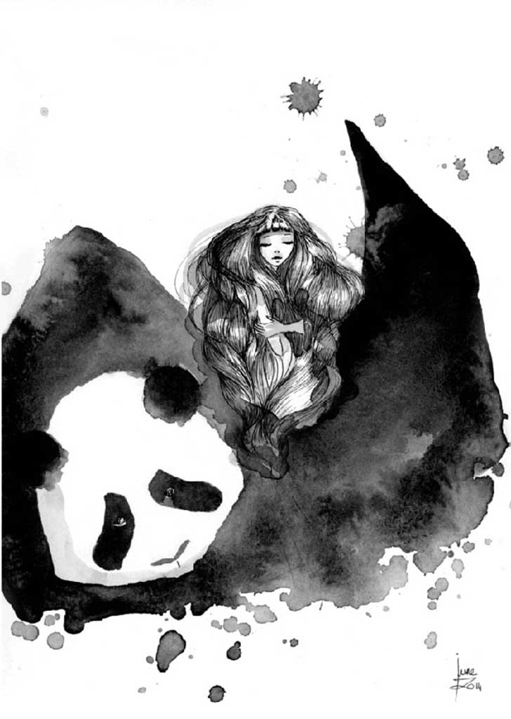 Pandamonium-Panda-and-Maiden-ink-drawings-by-June-Leeloo4__605