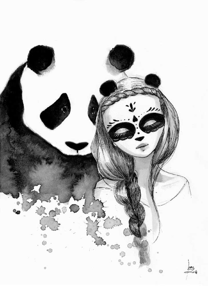 Pandamonium-Panda-and-Maiden-ink-drawings-by-June-Leeloo5__605