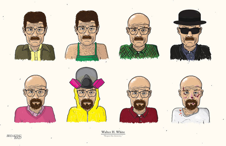 the_evolution_of_walter_white_by_edsonmuzada-d4cgrs0